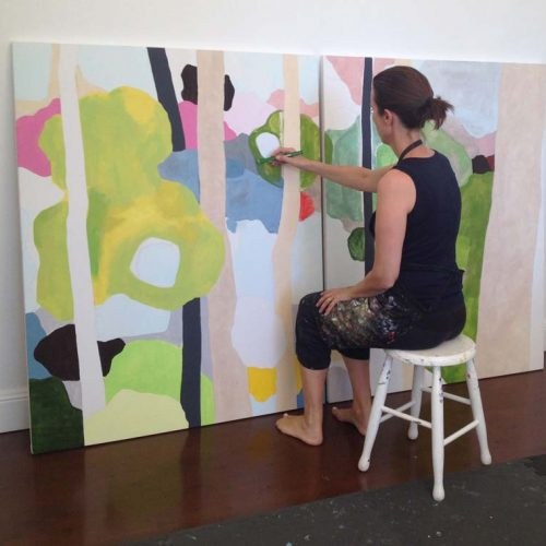 Clare Brodie painting Canopy diptych