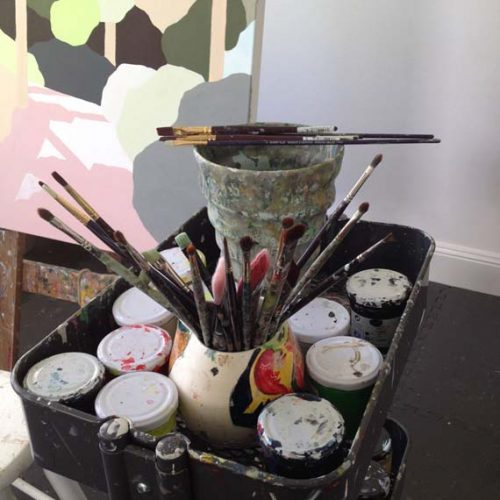 Clare Brodie's studio - Into The Shadows, brushes and paint