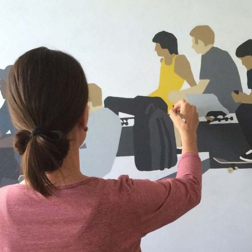 Clare Brodie painting Watching