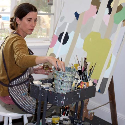Clare Brodie painting Panel one of Bush Canopy triptych